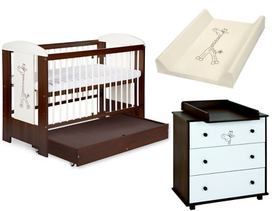 Solid Baby Cot Bed & Chest of Drawers +11cm Luxe Aloe Vera Coconut Mattress