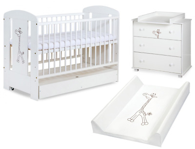 White Solid Baby Cot Bed & Chest of Drawers +11cm Luxe Aloe Vera Mattress