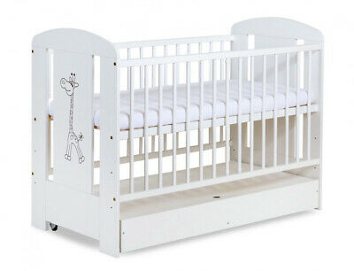 White Solid Baby Cot Bed With Drawer & 11cm Luxe Aloe Vera Coconut Mattress