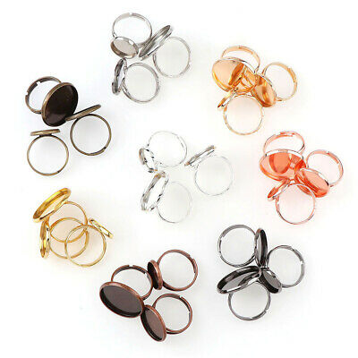 10 Piece Adjustable Ring Base Cabochons Cameo Settings Tray Jewelry Making Ring^