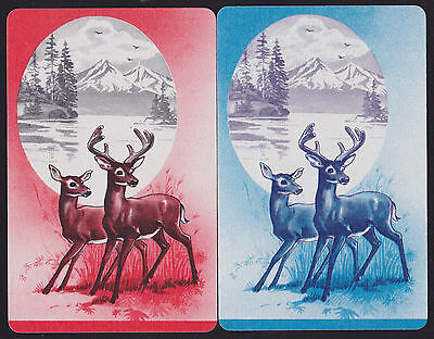 2 Single VINTAGE Swap//Playing Cards ANIMALS DEER DOE FAWNS MOUNTAIN STREAM