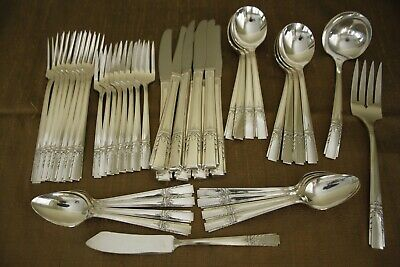LADY DRAKE Wm A.Rogers Oneida silverplate 43pc COMPLETE flatware SET for 8