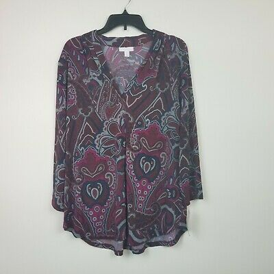 Charter Club Womens Plus XXL Blue Combo 3/4 Sleeve V-Neck Paisley Top NEW