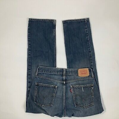 Boys Levi's 28 x 28 Denim Jeans Blue 514 Slim Straight Cotton distressed