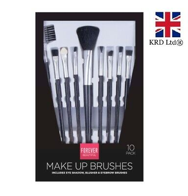 10 Pcs MAKE UP BRUSHES SET Powder Contour Eyeshadow Blusher Brush GMPER2094 UK