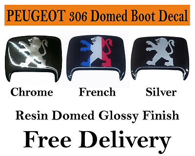 Peugeot 306 Boot Lock Badge Resin Domed Decal Gloss Finish Free Post