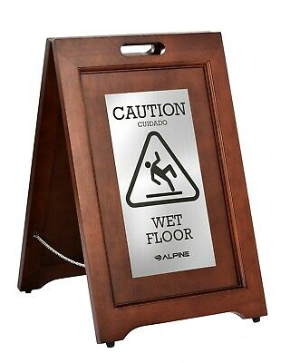 Alpine Industries 24 in Wood 2-Sided Bilingual Caution Wet Floor Sign