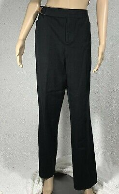 Lauren Ralph Lauren Black Straight Leg Pants Womens size 10 Leather Buckle