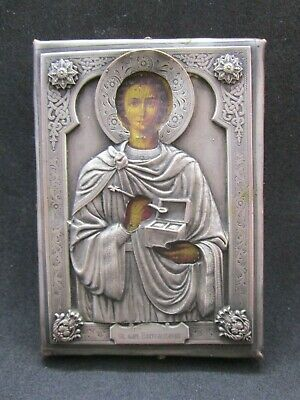 Ancient Icon Great Martyr Panteleimon 19th century. Silvering