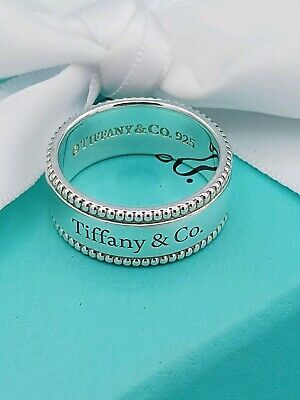 Tiffany & Co Sterling Silver Beaded Band Ring 7/ 55/ N1/2