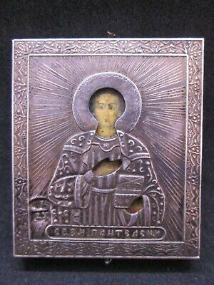 Ancient small icon preserved the Holy Martyr Panteleimon Silver 84