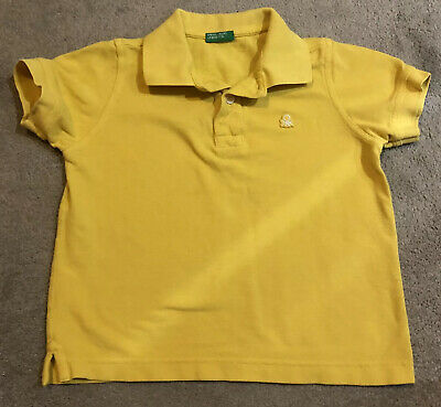 United Colours Of Benetton Boys Yellow Polo Shirt T-shirt Age 4-5 Years XS 110