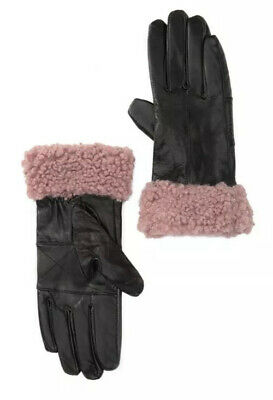 NWT Surell Women's Leather Gloves Faux Sherpa Cuff Medium Black Pink Lined $72