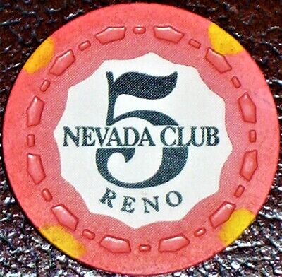 Old $5 NEVADA CLUB Casino Poker Chip Vintage Antique Small Crown Mold Reno 1956