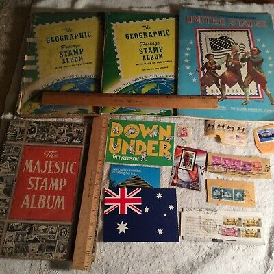 Vintage World Wide Stamp Booklets And Stamps Magazines Loose Stamps Misc