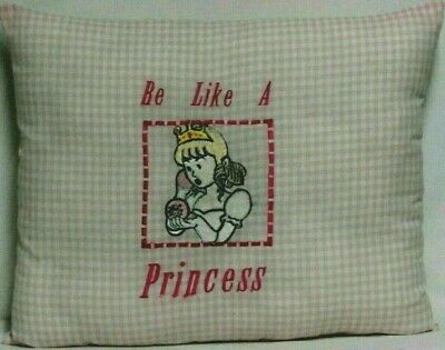 Toddler Pillow for Princess  Embroidered on Pink&White Gingham 100%Cotton