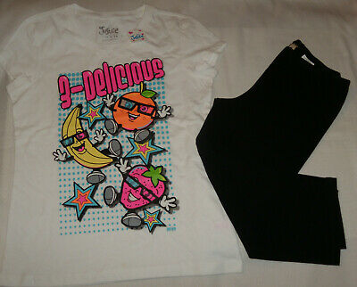NWT OUTFIT GIRLS size 14 JUSTICE WHITE GRAPHIC TEE With BLACK CAPRI LEGGINGS L