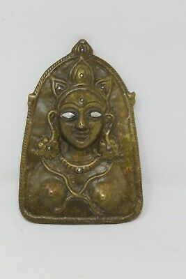 Antique Old Brass Mohra Himachal Bronze Female Deity Devi With Silver Eye NH6213