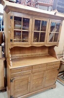 ETHAN ALLEN Heirloom Nutmeg Maple Colonial Style China Cabinet & Hutch Local MI