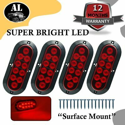 "4X TMH 10LED 6"" Red Oval Surface Mount Brake Stop Tail Light Car Truck Trailer"