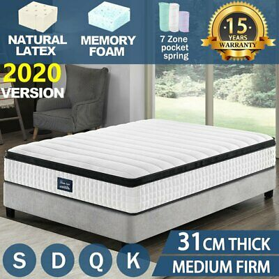 QUEEN DOUBLE KING SINGLE Mattress Bed Euro Top Pocket Spring Firm Memory Foam