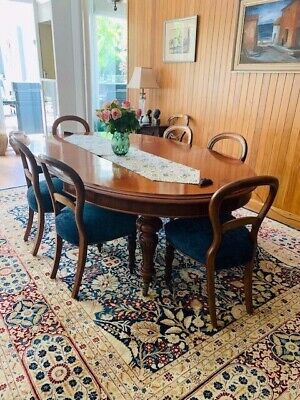Antique Victorian Dining Room Extendable Table & Chairs, BARGAIN