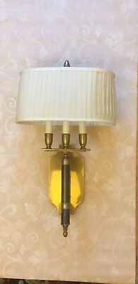 "Two Large heavy brass wall lights 23""x 6.5"" vintage Candle Bouillotte"
