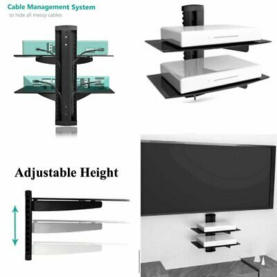 Black Floating Single Double Triple Glass Shelves Wall Mount Bracket Stand DVD