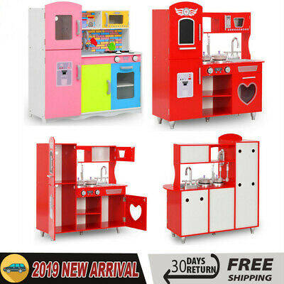 Large Girls Boys Kids Wooden Play Kitchen Role Play Pretend Toy Furniture NEW