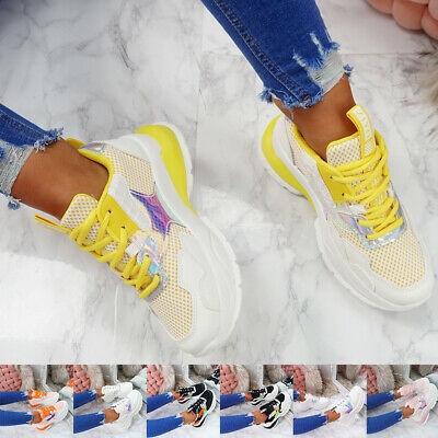 Womens Ladies Lace Up Mesh Chunky Trainers Shiny Snake Platform Sneakers Shoes