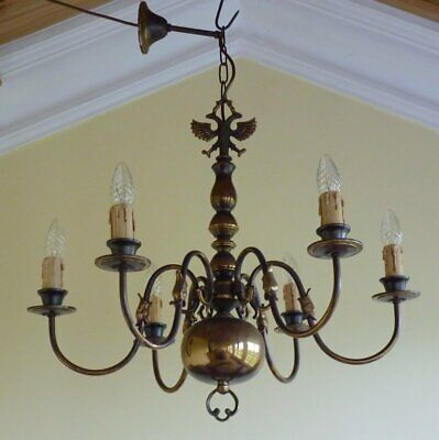 Antique Vintage Brass Flemish Chandelier 6 lamp ceiling light French Chic