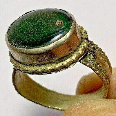 LATE MEDIEVAL SILVERED RING-RARE DARK GREEN STONE INTAGLIO 4.5gr 25mm(inner 20mm