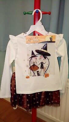 New Girls Spooky Night 3 Piece Outfit Top/Skirt And Hair Band Age 5-6 Years
