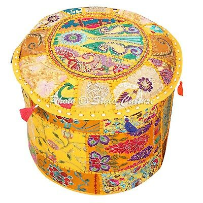 Indian Round Fabric ottoman Cover Vintage Patchwork Pouffe Accent Foot Stool 22""