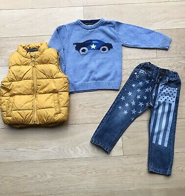 NEXT *12-18m BABY BOYS STARS JEANS  JUMPER & GILET OUTFIT 100% NEXT 12-18 MONTHS