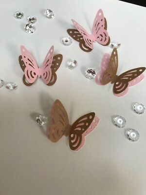 24x 3D paper butterflies Hen Night Party table decorations pink and craft brown