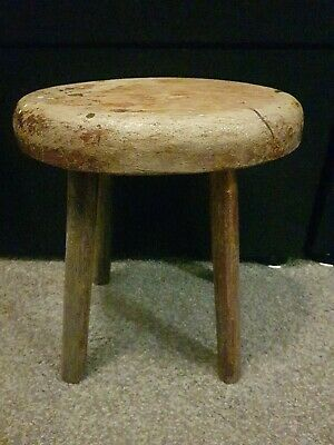 Vintage Made Wooden 4 Legged Milking Stool, Plant stand, Rustic, Country, Prop