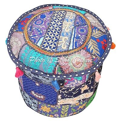 Indian Round Fabric ottoman Cover Vintage Patchwork Pouffe Accent Foot Stool 16""