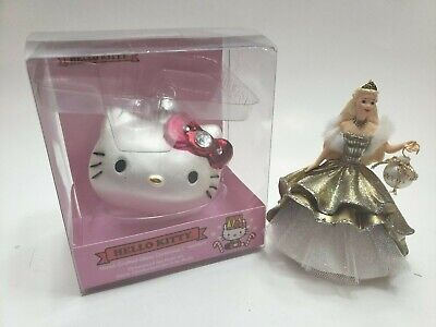 2 lot HELLO KITTY Glass Ornament Kurt S Adler 2012 Xmas Hallmark Ornament Barbie