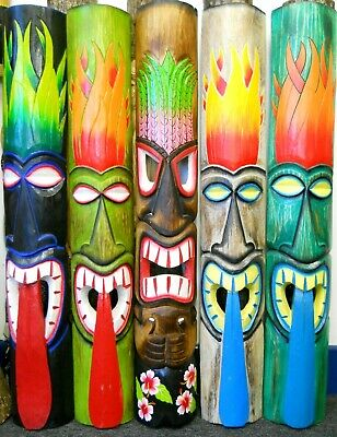 Amazing Carving Wooden TIKI MASK 100cm NEW DESIGN Wall Decoration Multicoloured