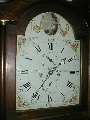 Very Good Oak 8 Day Longcase Excellent Painted Dial Working Order