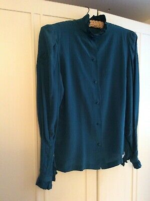 Vintage 1980s Teal pure silk exquisite Pie crust blouse size sml 6/8 boho chic🎩