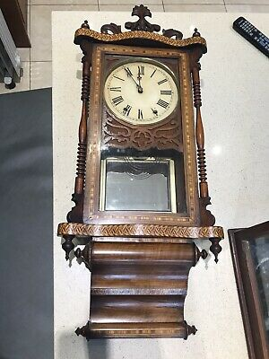 Antique Walnut Inlaid Wall Clock With Tunbridge Ware Style Inlay Decoration