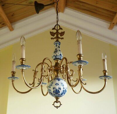 Stunning Vintage delft & brass Flemish chandelier ceiling light French Chic