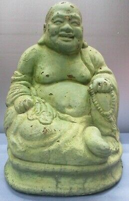 """Vintage Large Buddha  Concrete SCULPTURE -Great Patina- Lawn Ornament 15"""" Tall"""