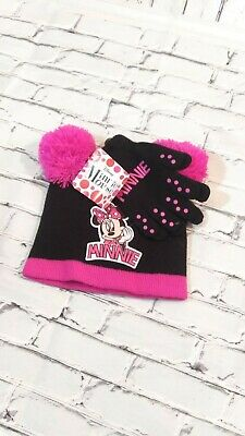 Nwt Girl's  Disney Minnie Mouse Beanie Hat & Gloves Black & Pink