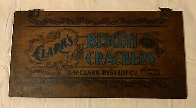 Old Antique Clark Bisuit Cracker Advertising Wood Box Door Sign