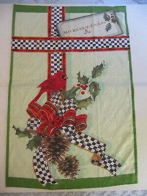 "Mackenzie Childs Christmas Holiday Fabric Wall Hanging Scarf 30"" x 20"""