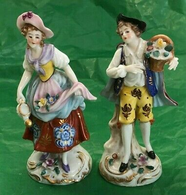 Pair Baroque-Style Porcelain Miniature Figurines (Lady And Gentleman Courting)