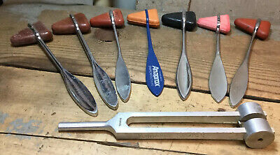 Lot Of 7 Vintage Knee Reflex Hammers Rubber & 1 Tuning Fork 128C